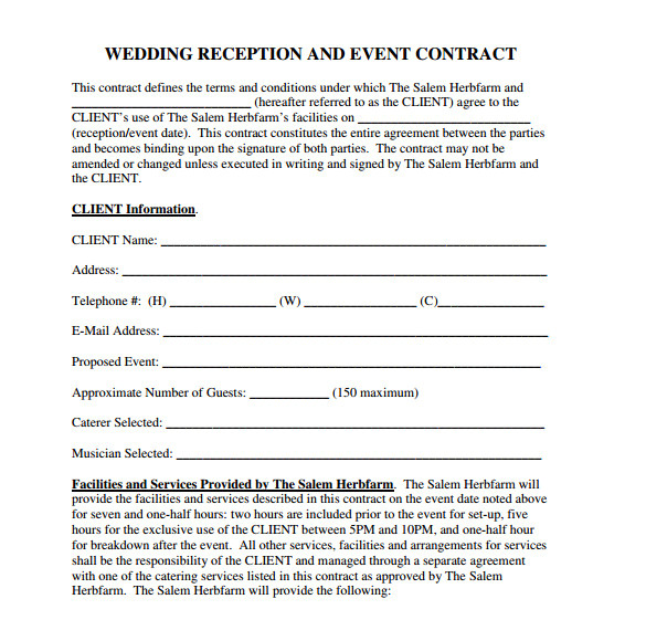 Wedding Reception Contract Template Wedding Contract Template 24 Download Free Documents