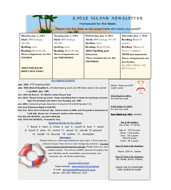 sample teacher newsletter