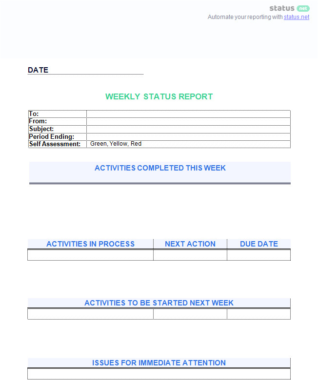 weekly status report template free download