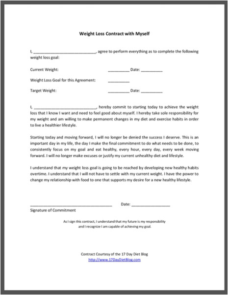 Weight Loss Contract Template Weight Loss Contract with Myself 17 Day Diet