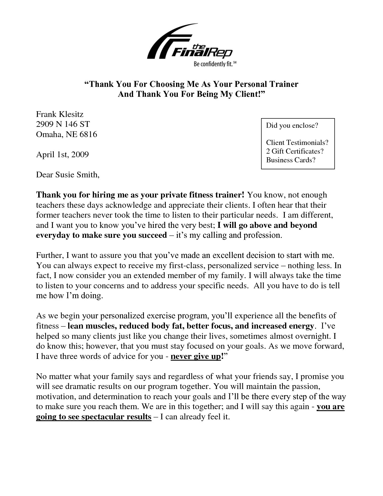 personal training welcome letter template
