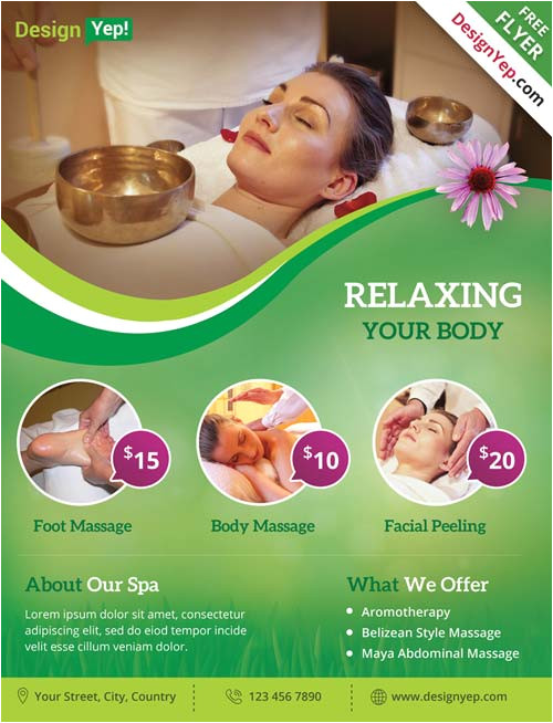 spa and wellness free psd flyer template