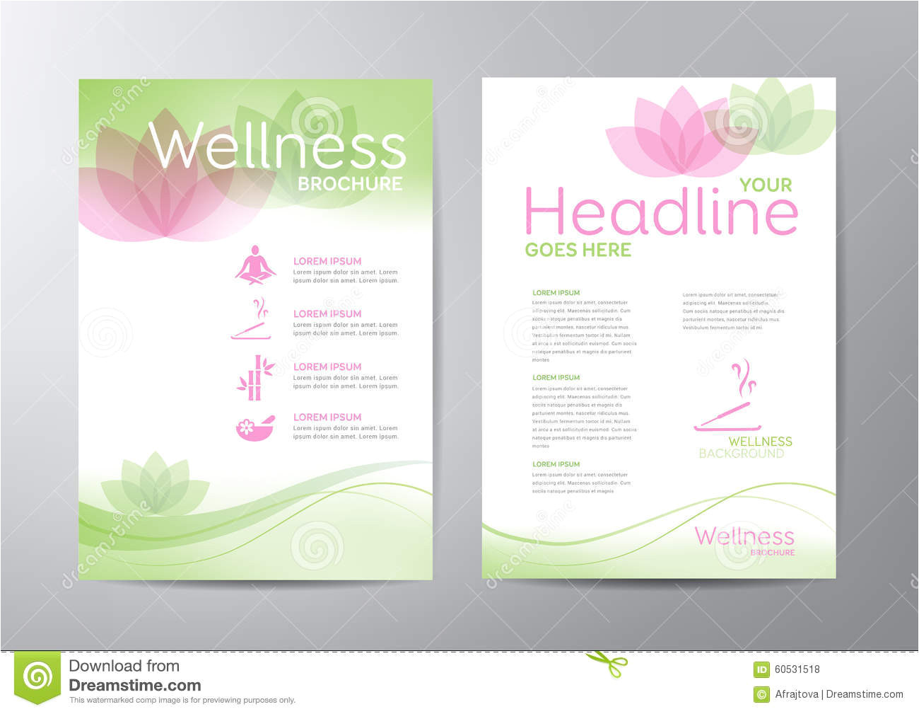 stock illustration wellness brochure template relaxation healthcare medical topics image60531518