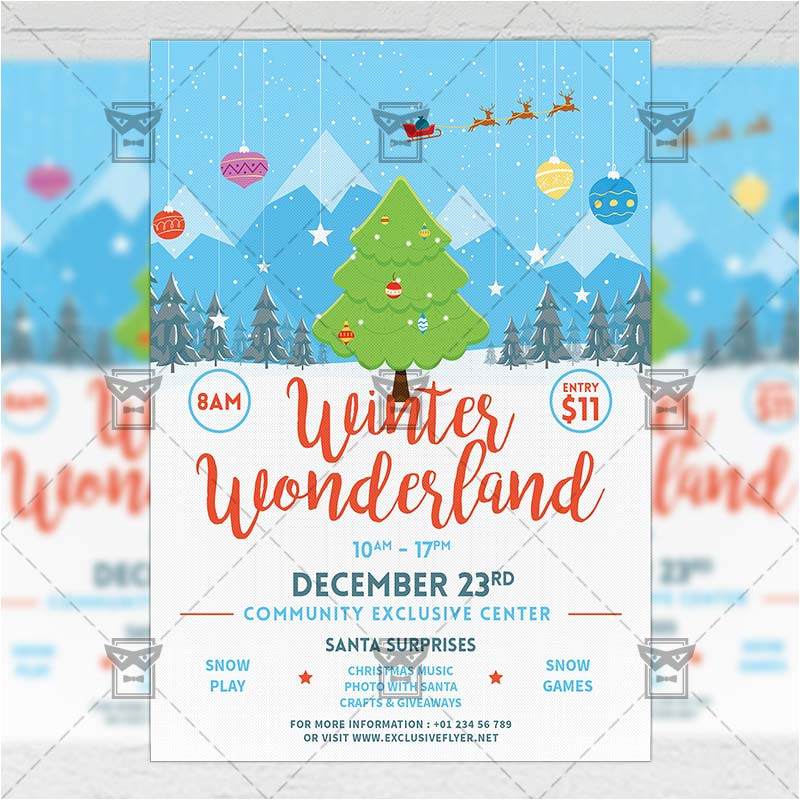 winter wonderland flyer seasonal a5 template