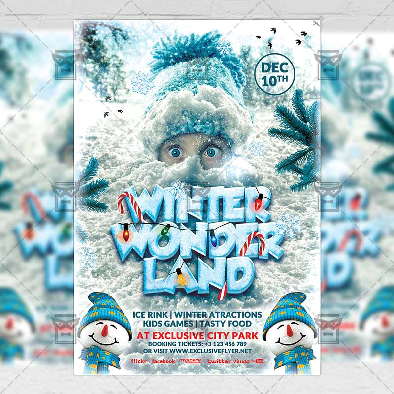 winter wonderland seasonal a5 flyerposter template