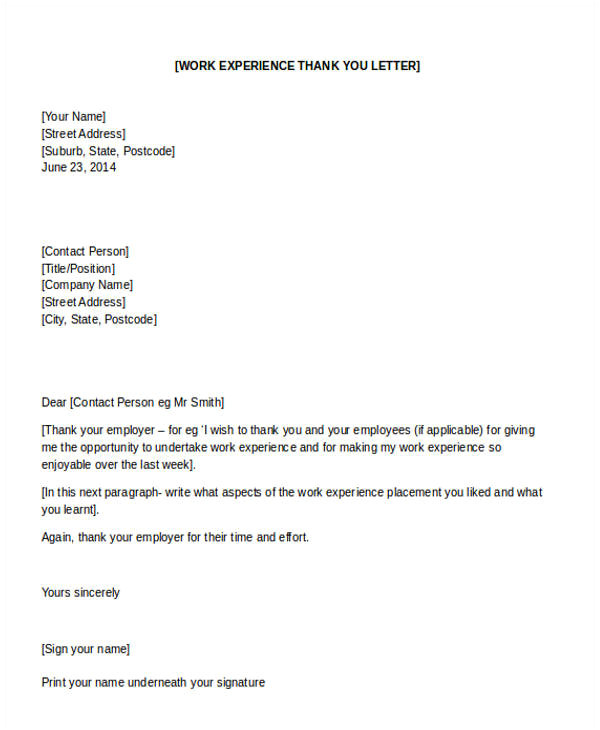 thank you letter example template