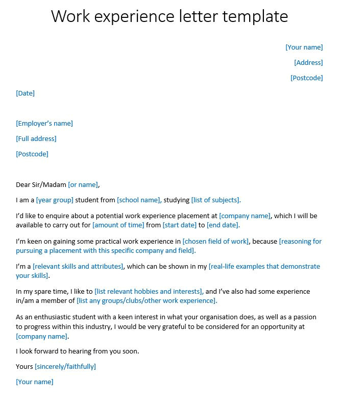Work Experience Email Template Work Experience Letter Template Reed Co Uk