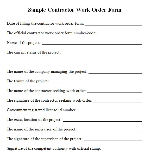 contractor work order form
