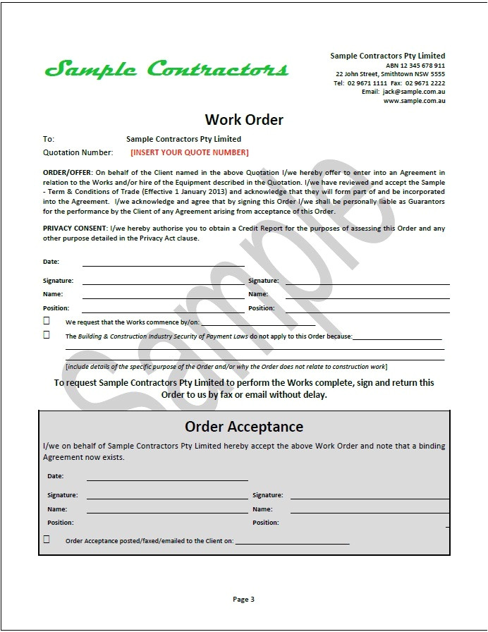effective business contract document package contractors suppliers