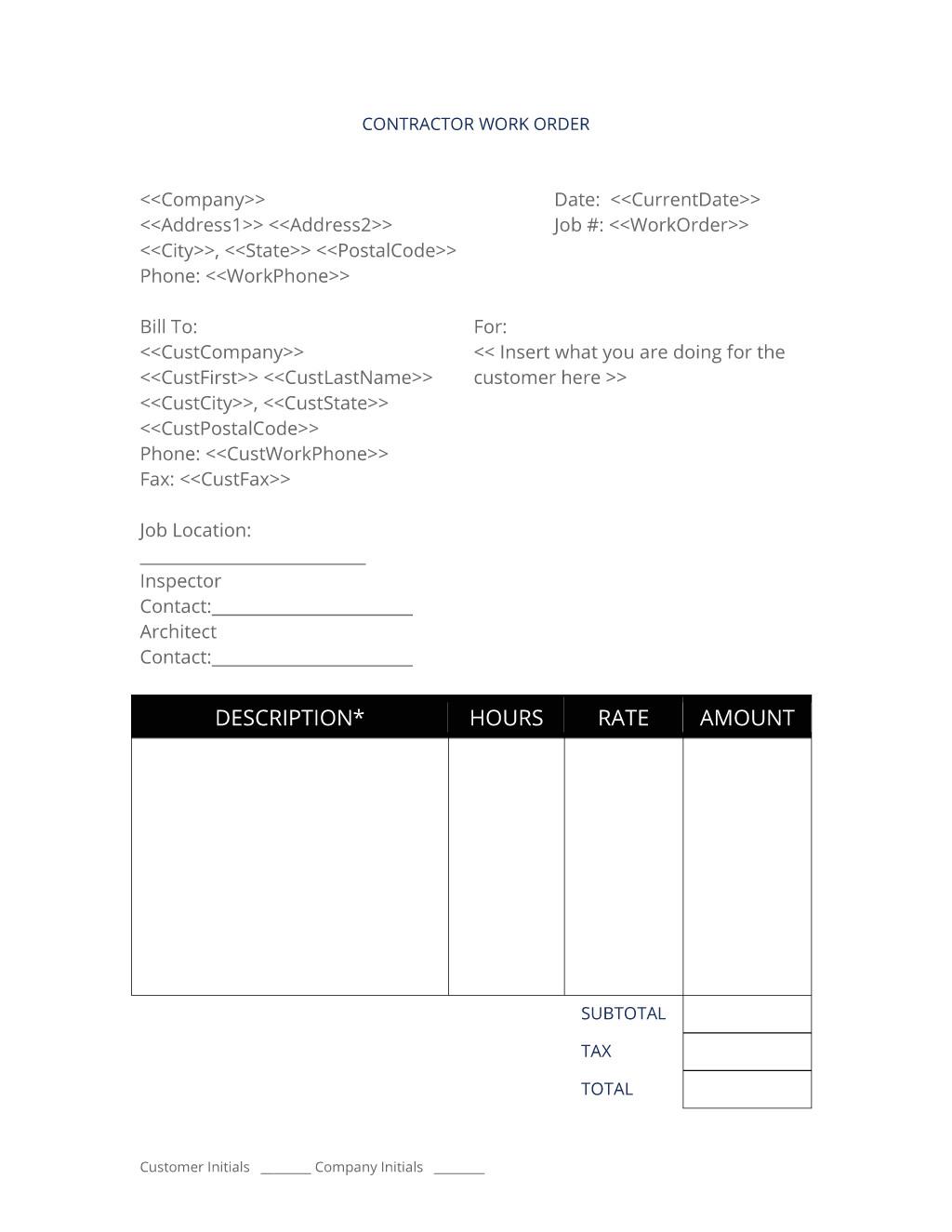 general contractor job work order contract agreement form