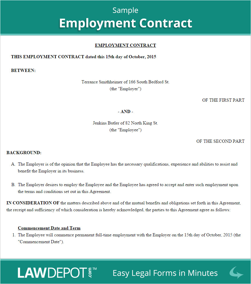 Working Contract Template Employment Contract Template Us Lawdepot