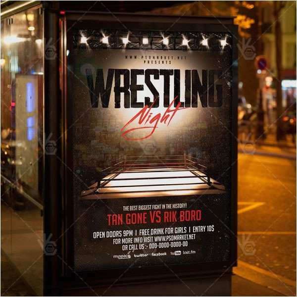 wrestling night premium flyer psd template