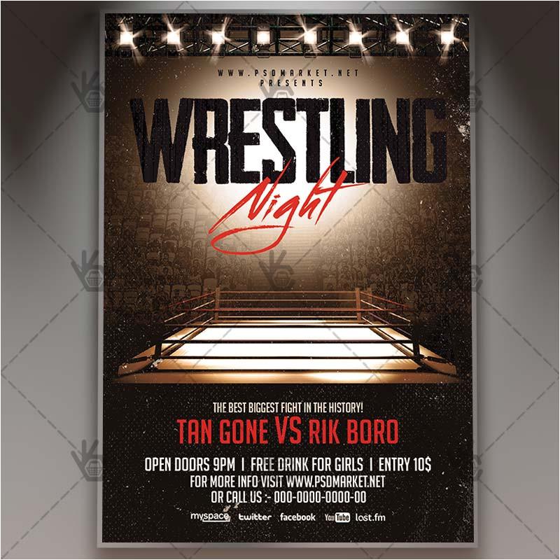 Wrestling Flyer Template Wrestling Night Premium Flyer Psd Template Psdmarket