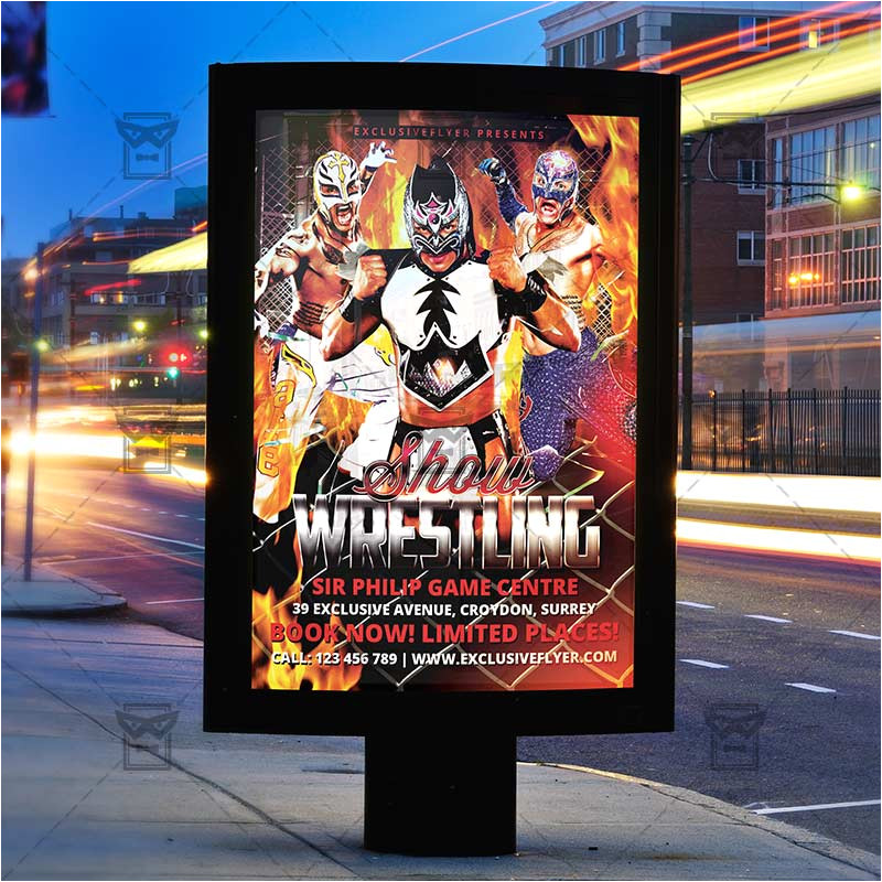 wrestling show premium flyer template facebook cover