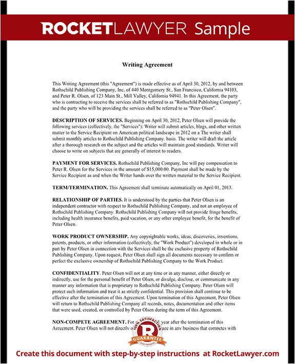 freelance writer contract rl