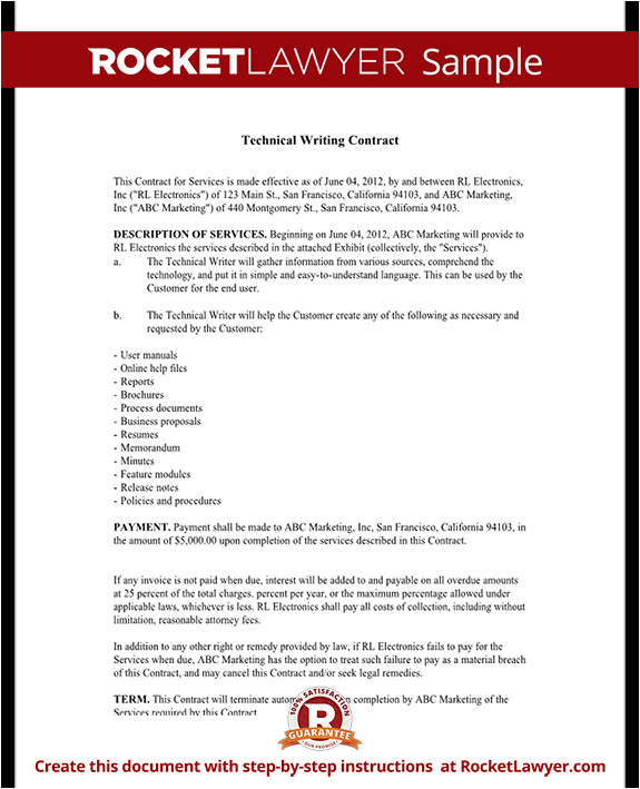 Writing A Contract Agreement Template Technical Writing Contract Agreement form with Sample
