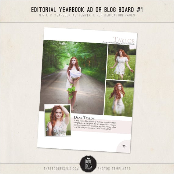 editorial yearbook ad templates for high
