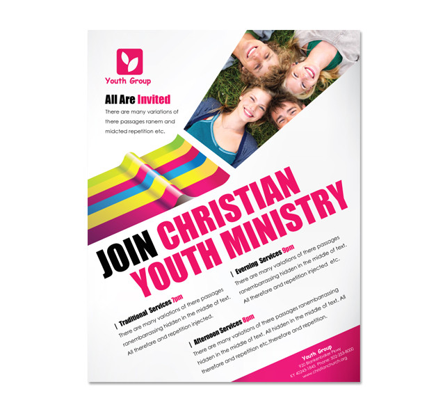 church ministry youth group flyer template