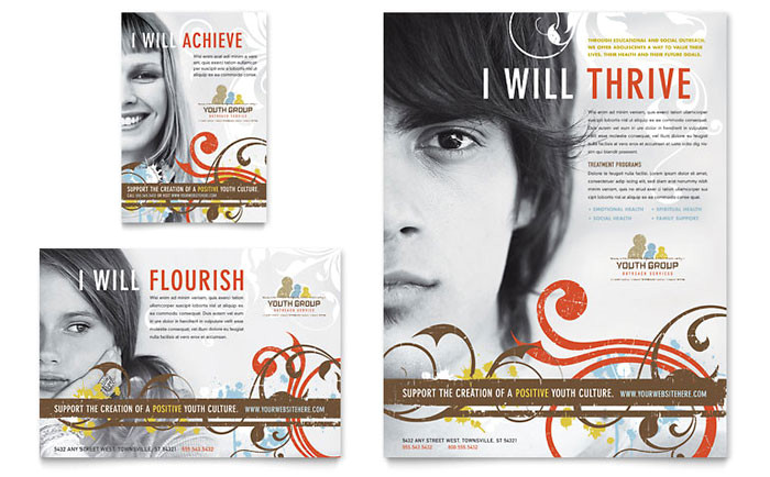 church youth group flyer ad template design ro0100701