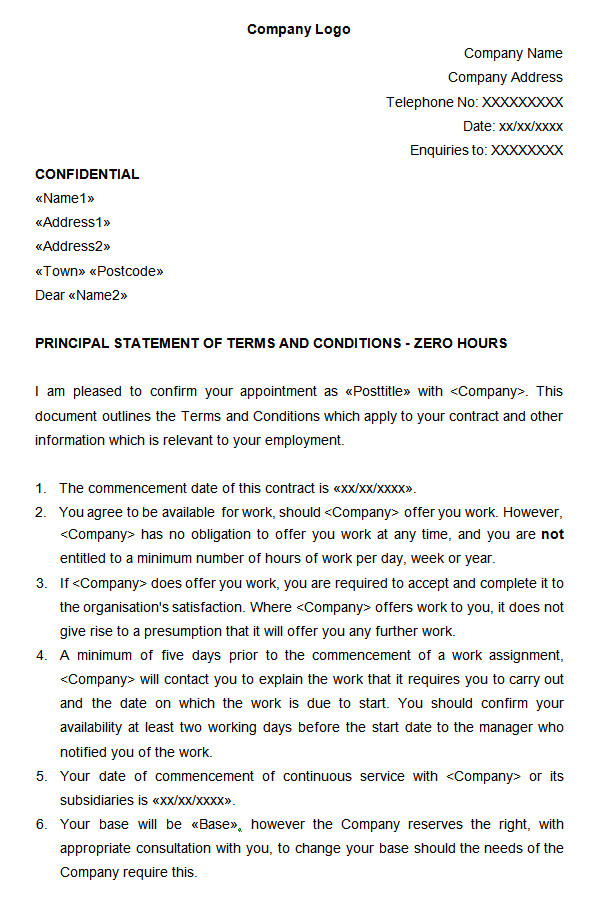 Zero Hour Contract Template Free 23 Hr Contract Templates Hr Templates Free Premium
