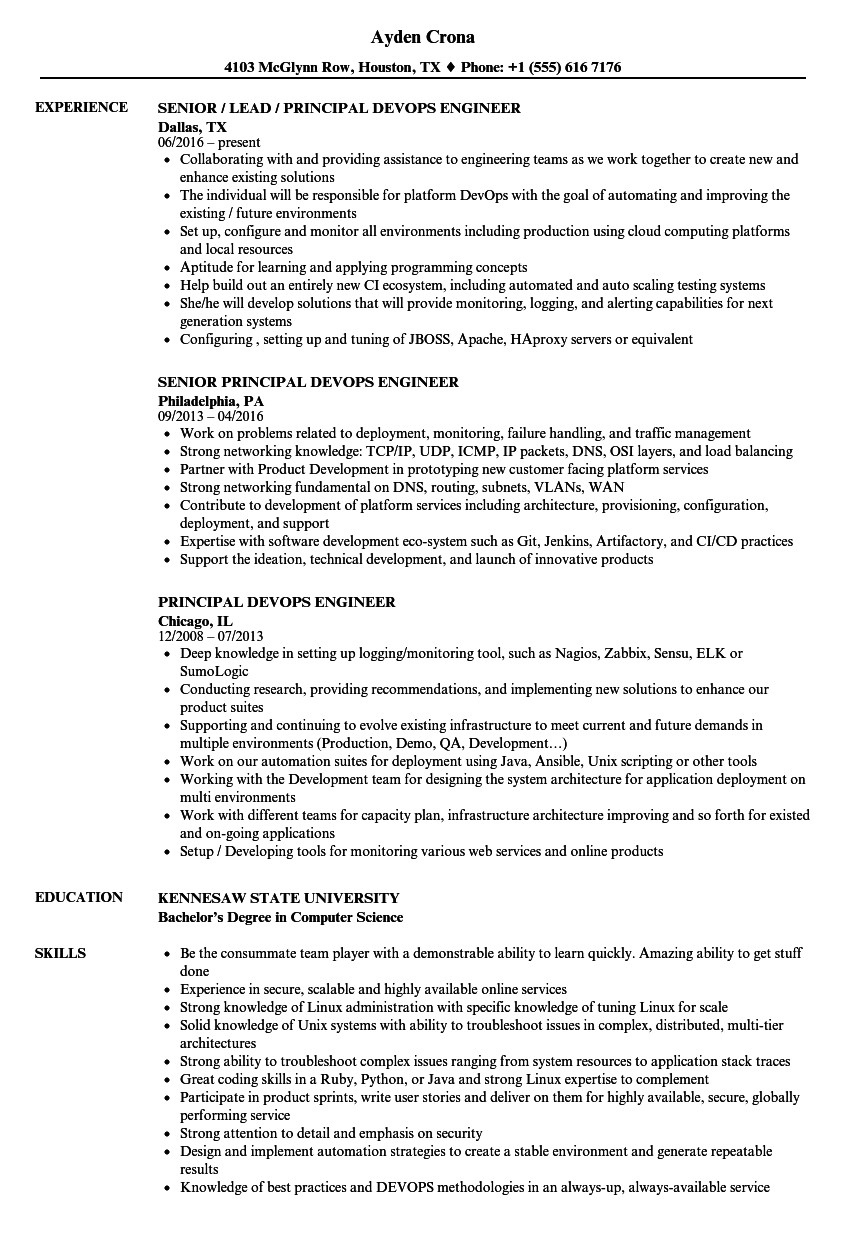 principal devops engineer resume sample