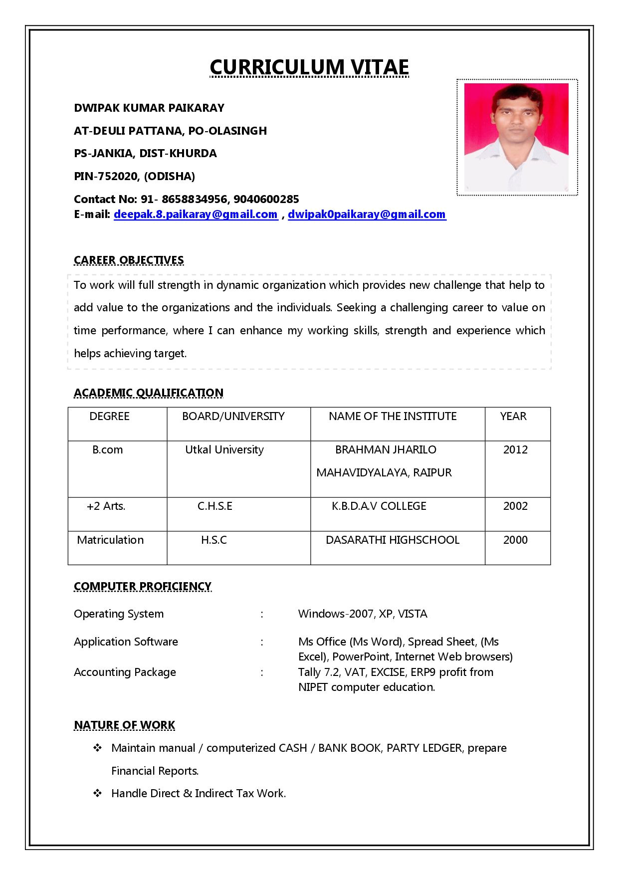 A Simple Resume format for Job Job Interview 3 Resume format Job Resume format