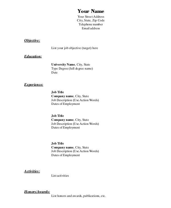 simple resume format