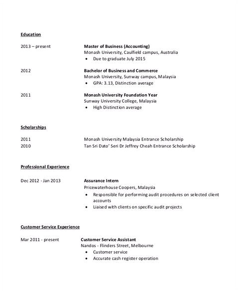 awesome accounting student resume with no experience