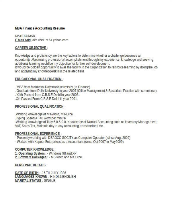 basic finance resume