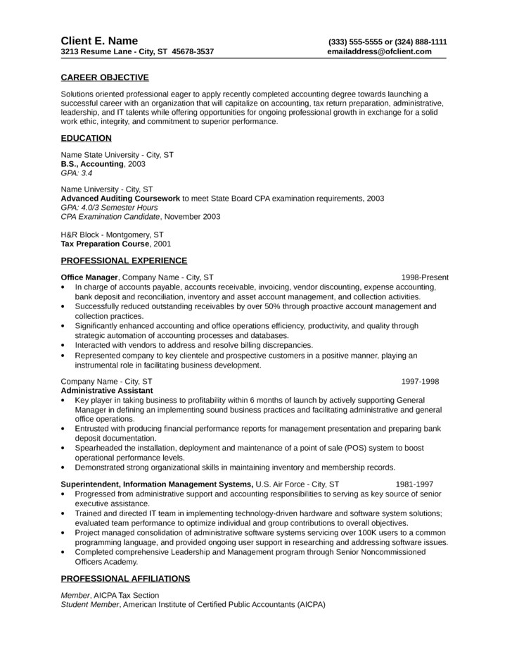 basic tax accountant resume templates and samples