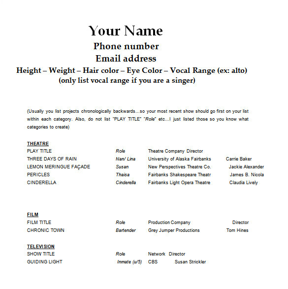 Acting Resume format Word Acting Resume Template 7 Free Word Excel Pdf format