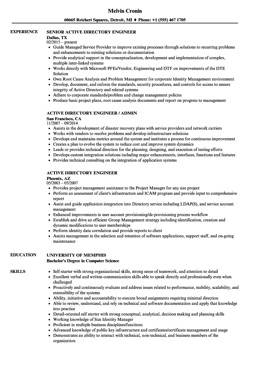 active directory engineer resume sample