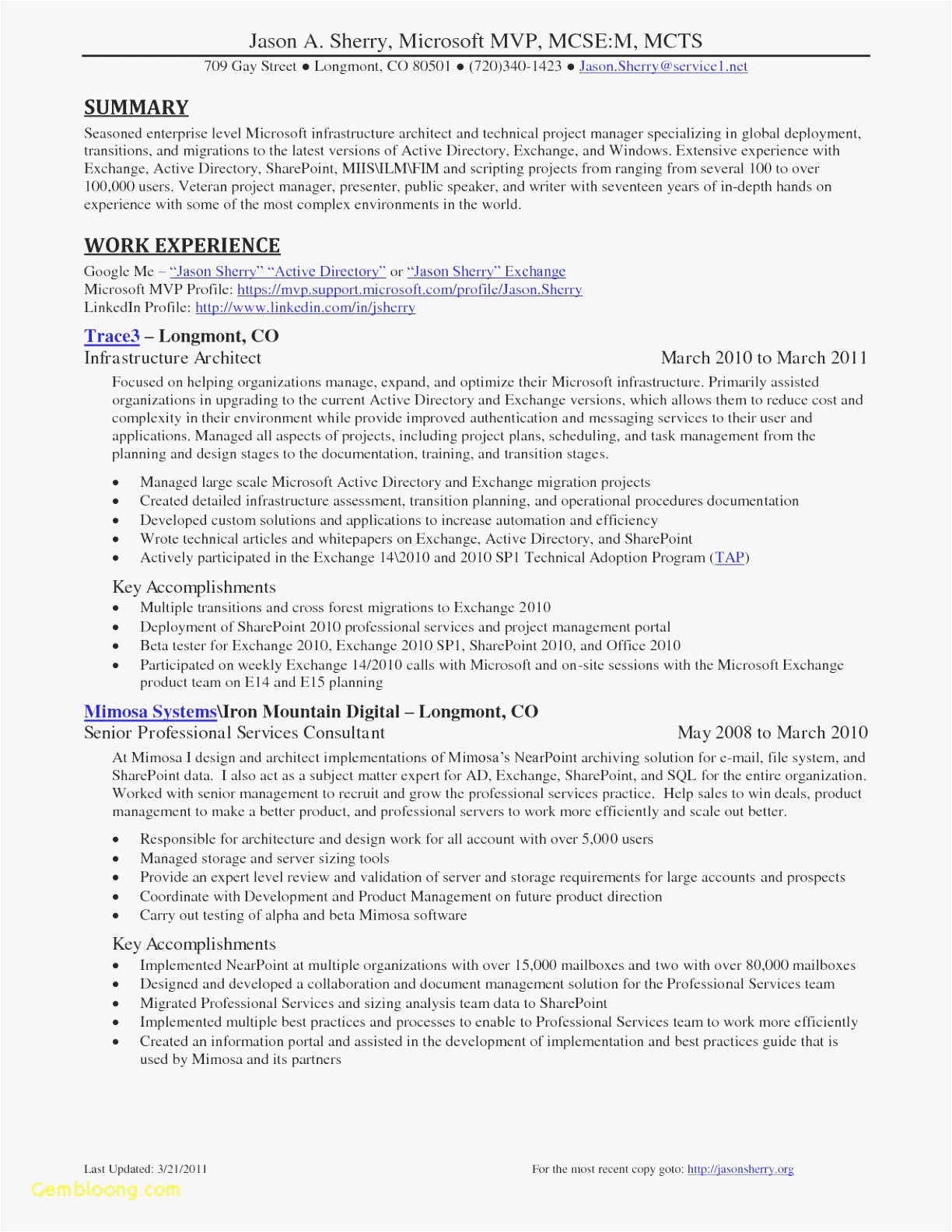 active directory resume format
