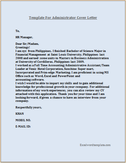 administrator resume cover letter template