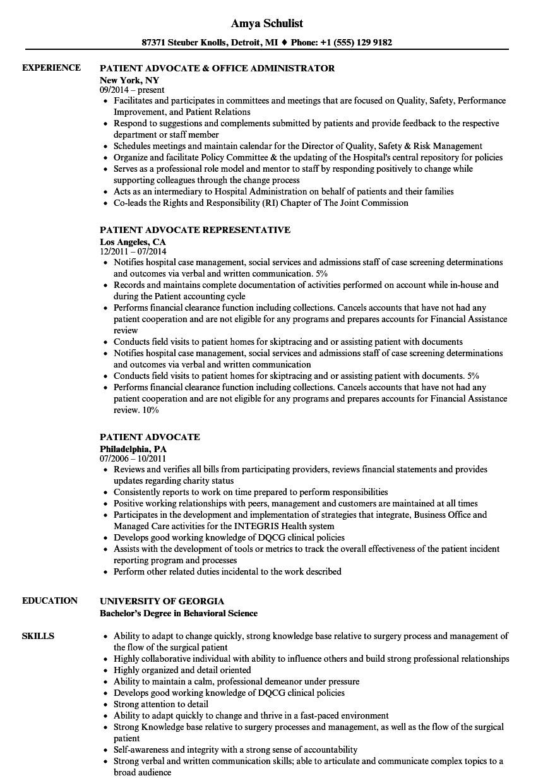 Advocate Resume format Word Patient Advocate Resume Samples Velvet Jobs
