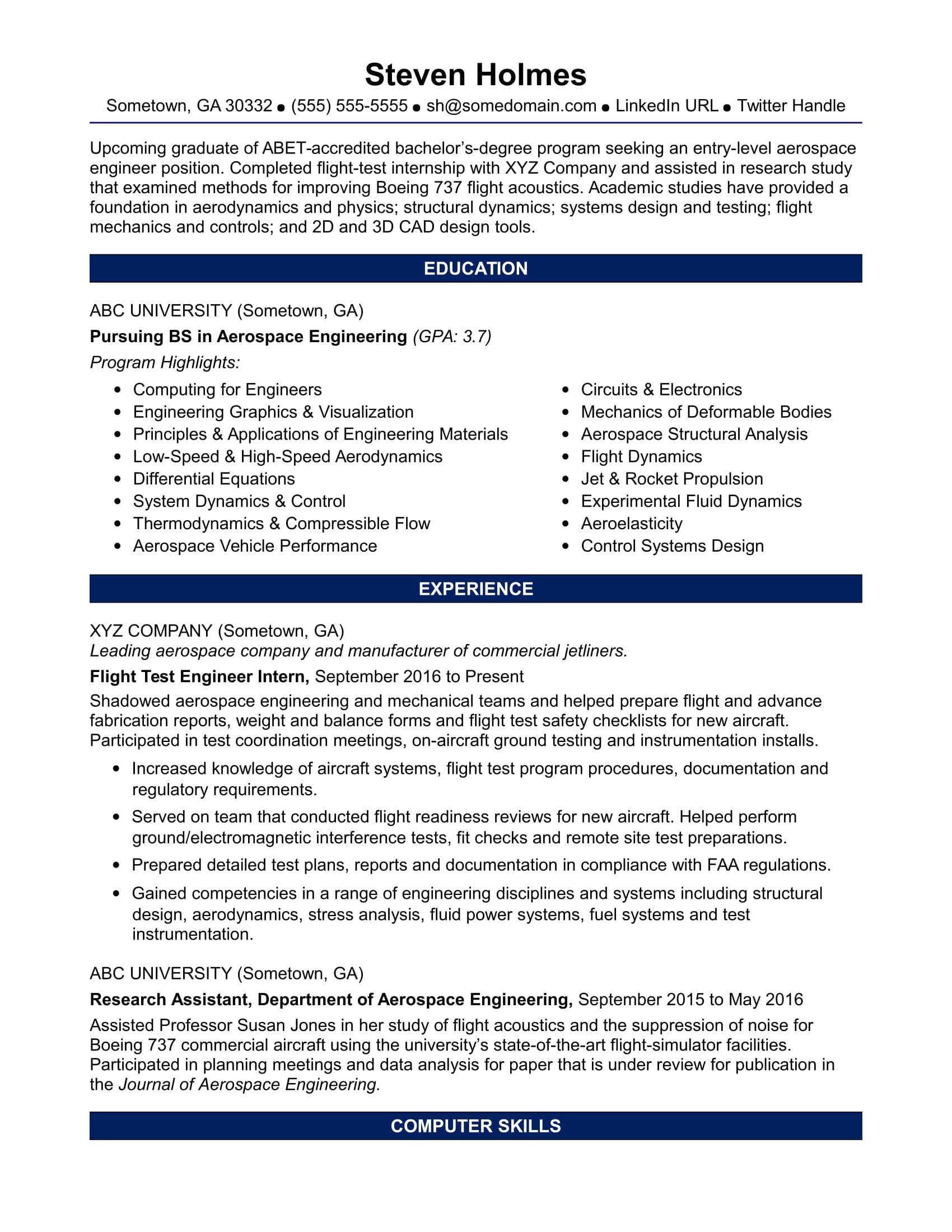 sample resume aerospace engineer entry level