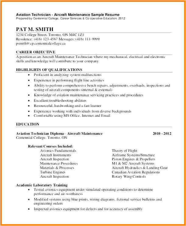 8 electronics technician resume