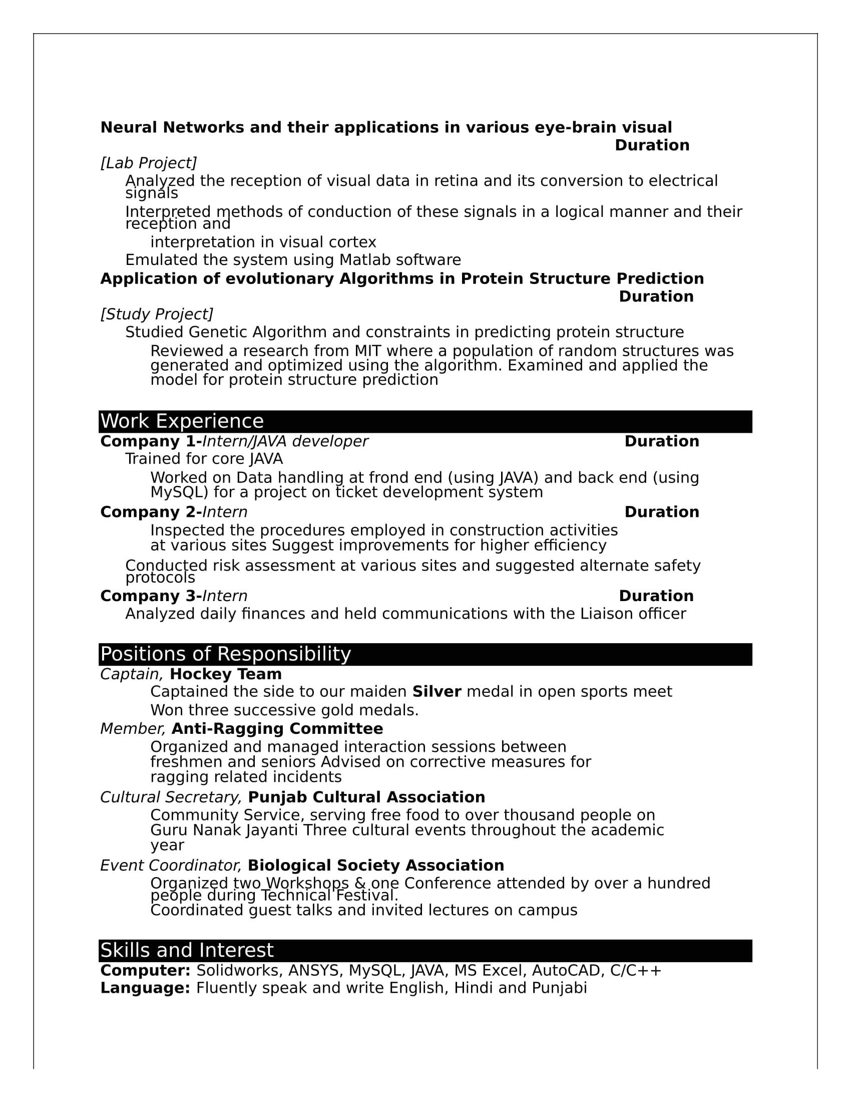 b tech fresher resume format doc download