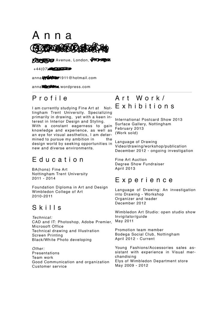 Art Student Resume 32 Best Images About Artist Cv 39 S On Pinterest