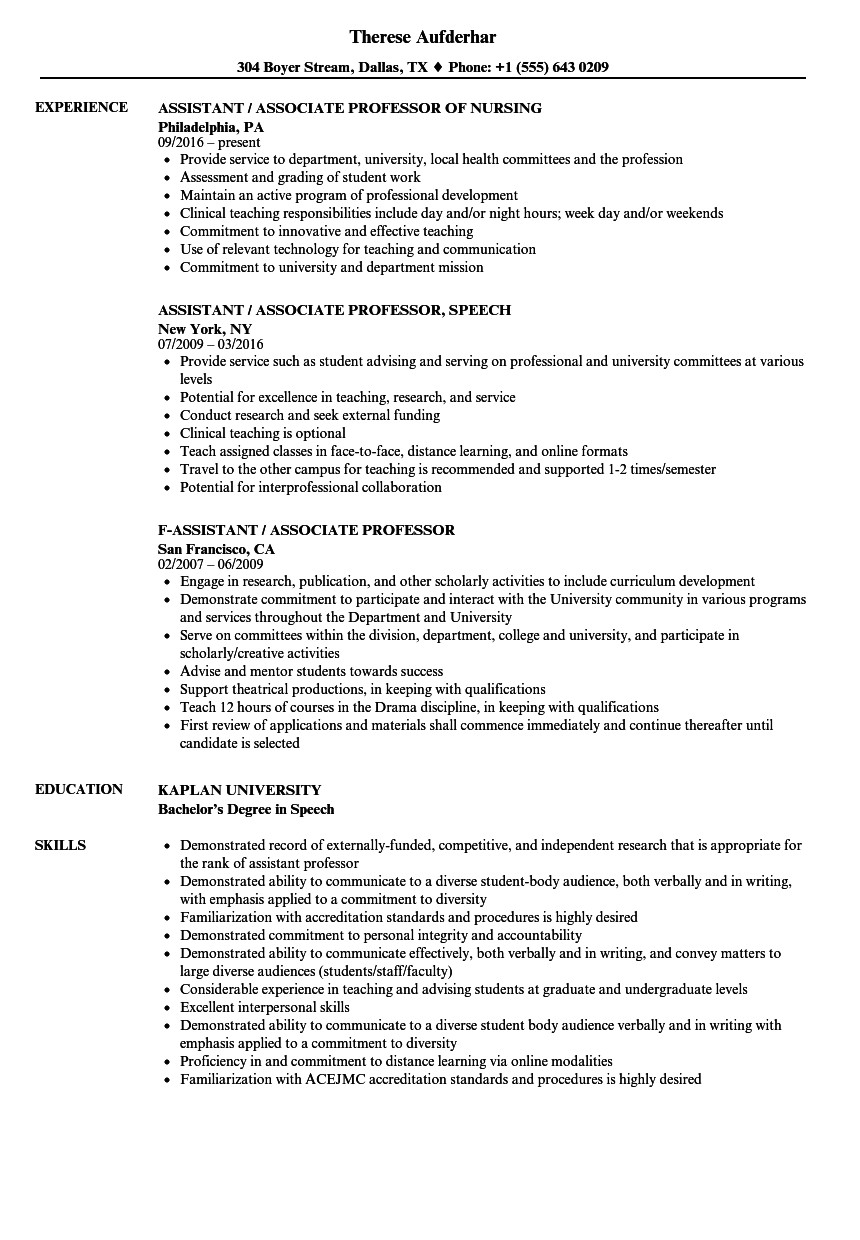 assistant associate professor resume sample