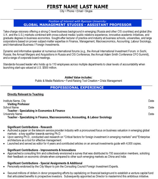 assistant professor resume sample