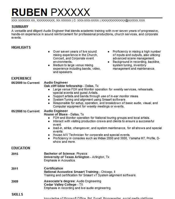 audio engineer resume objective