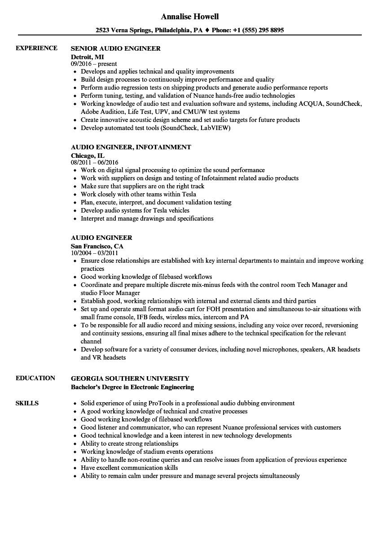 audio engineer resume sample