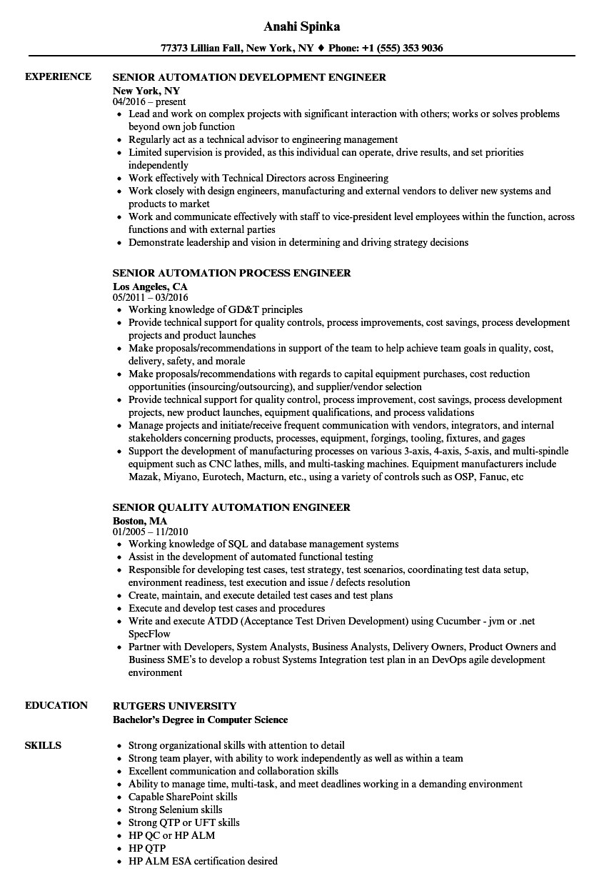 automation engineer senior resume sample