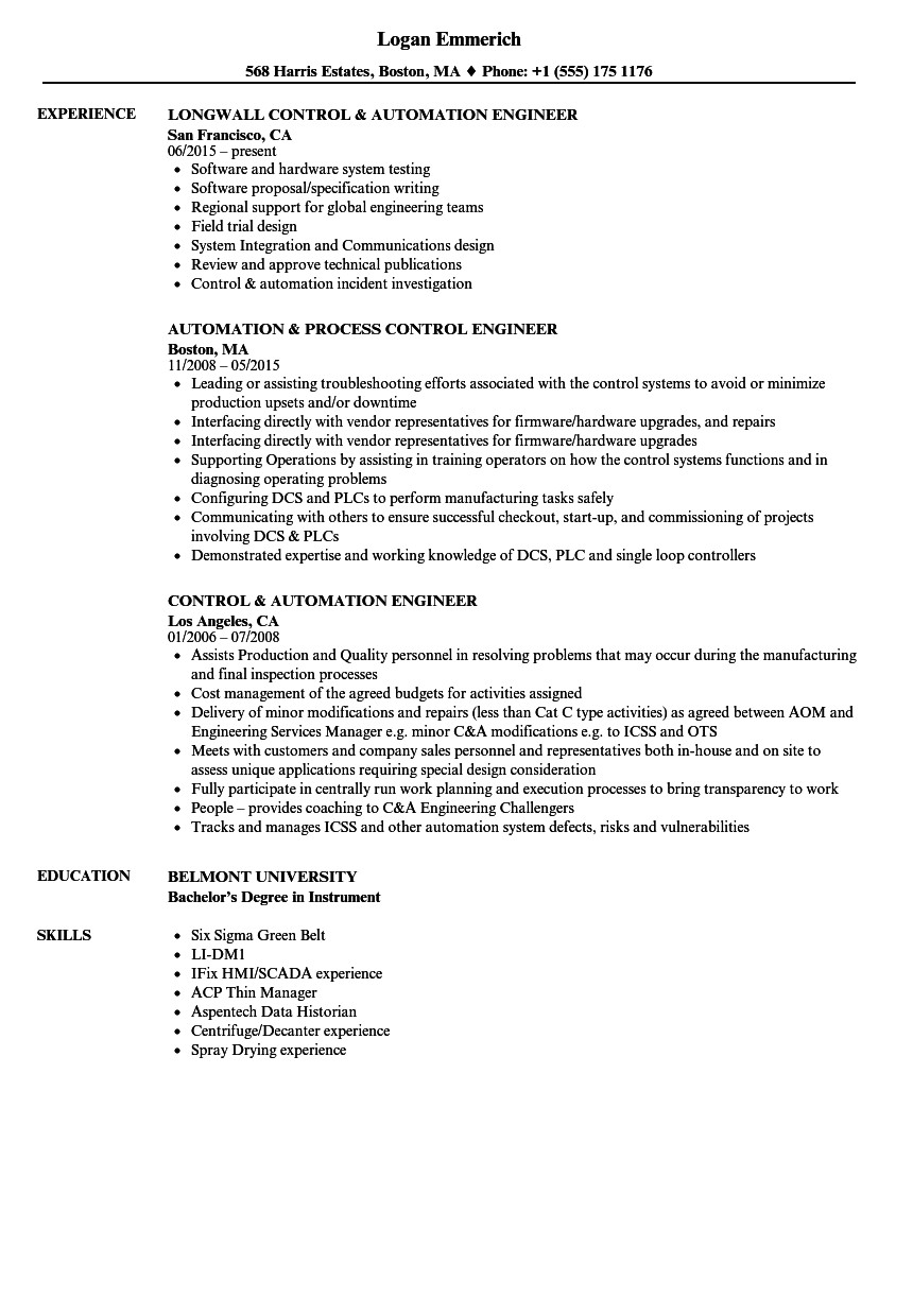 control automation engineer resume sample