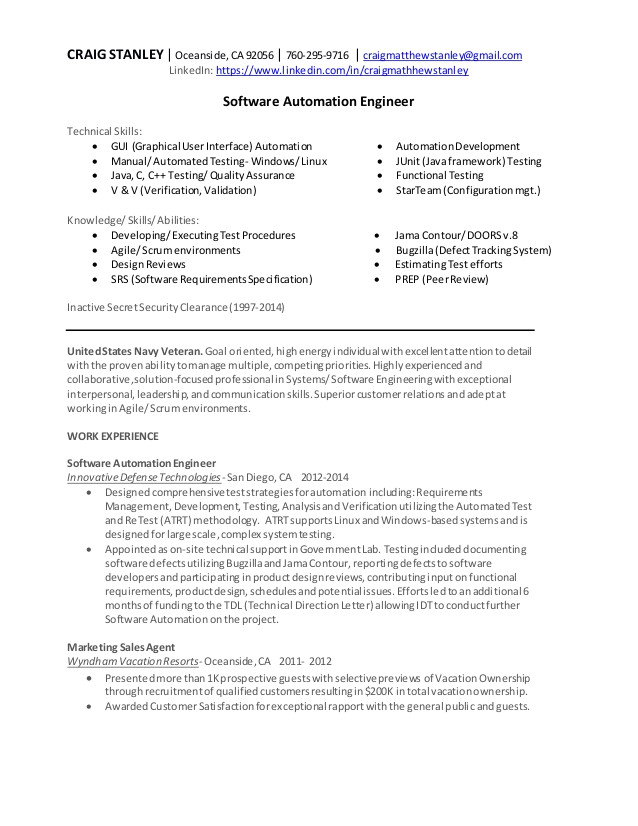 craig stanley software automation engineer resume 50454889