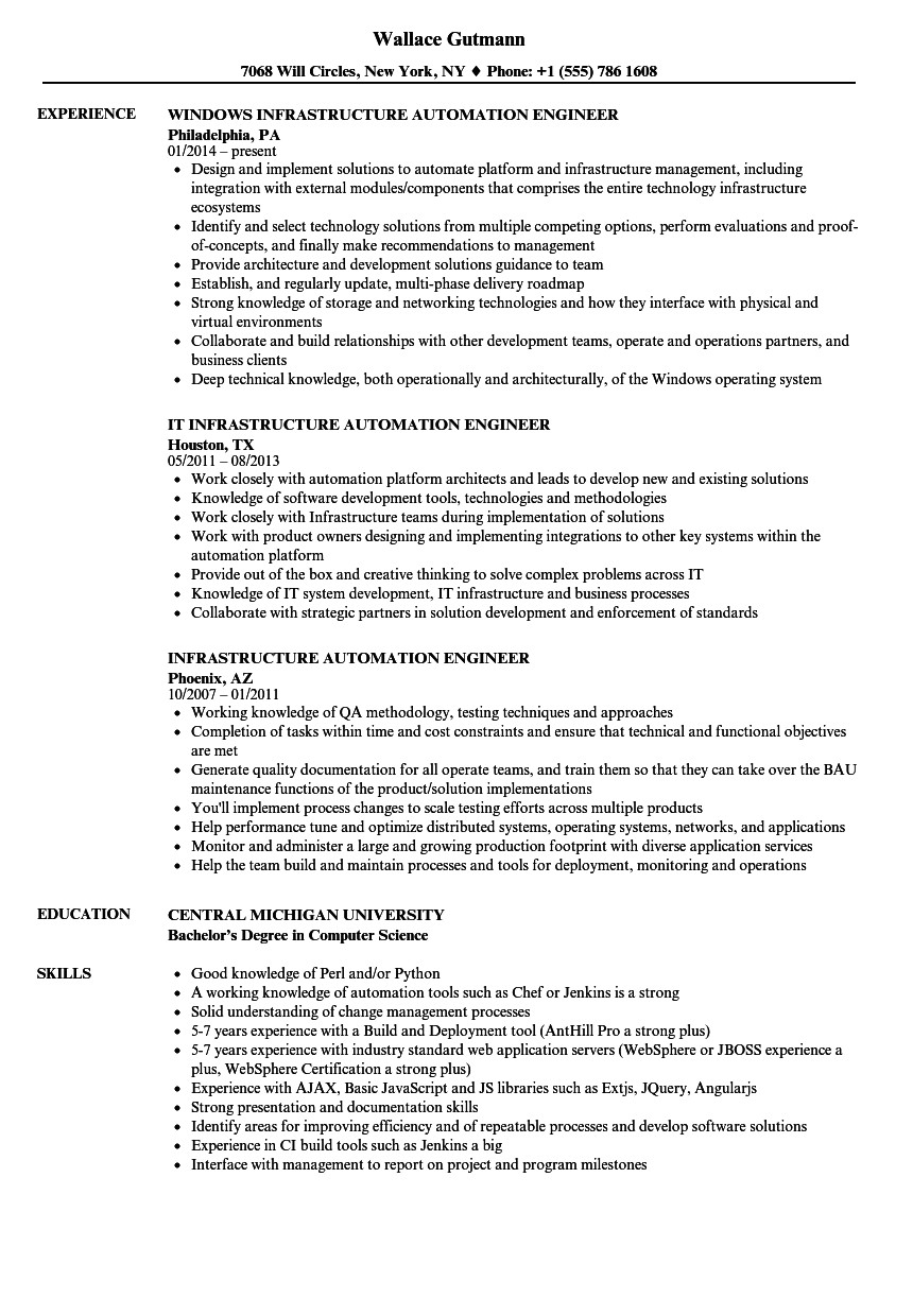 infrastructure automation engineer resume sample