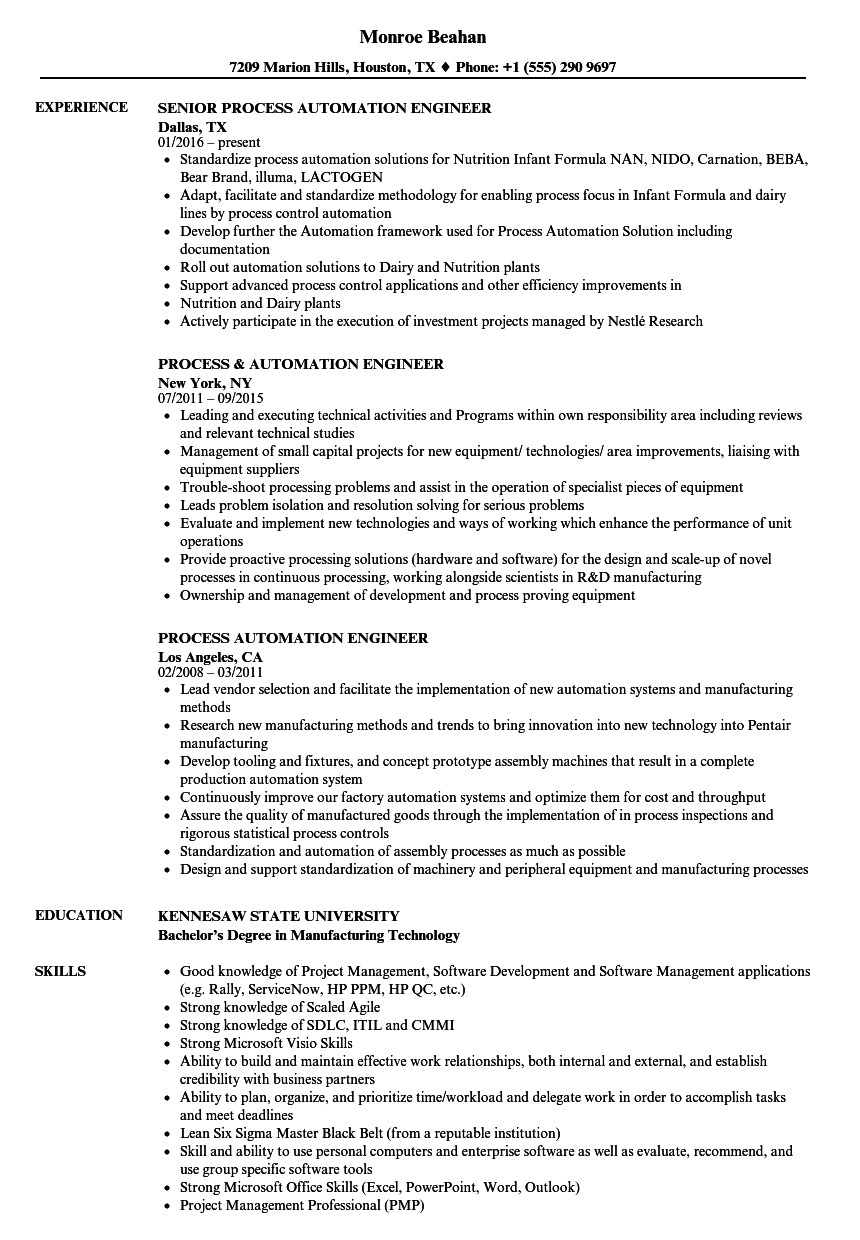 process automation engineer resume sample