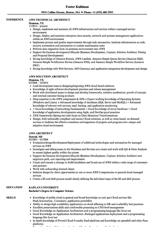 aws architect resume sample