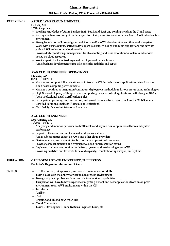 aws cloud engineer resume sample